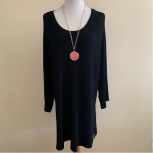 Avenue Ribbed Knit Top Sweater Black Scoop 2X
